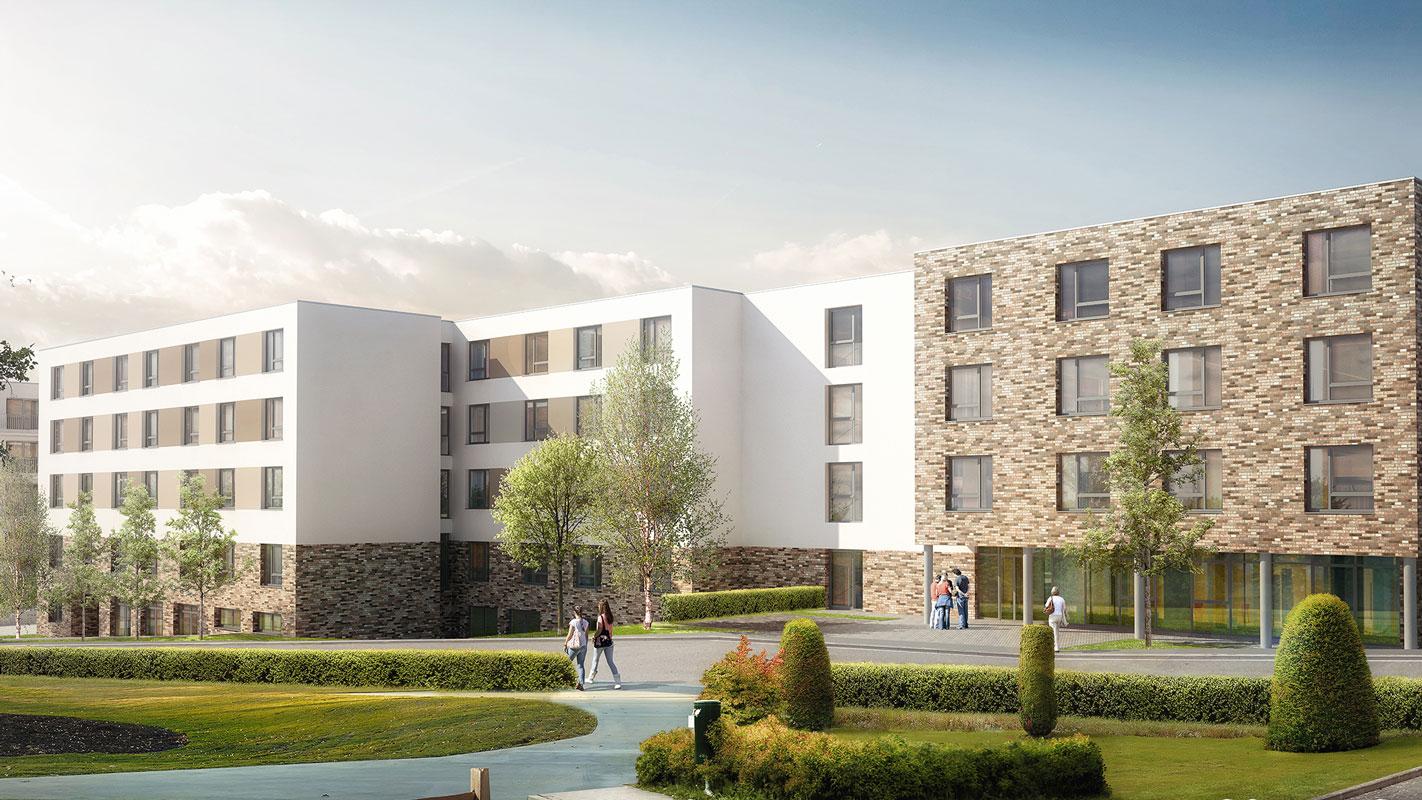 Vorderansicht Wohnpark Alfeld, modern, hell und freundlich, tolle Architektur, Pflegeimmobilien