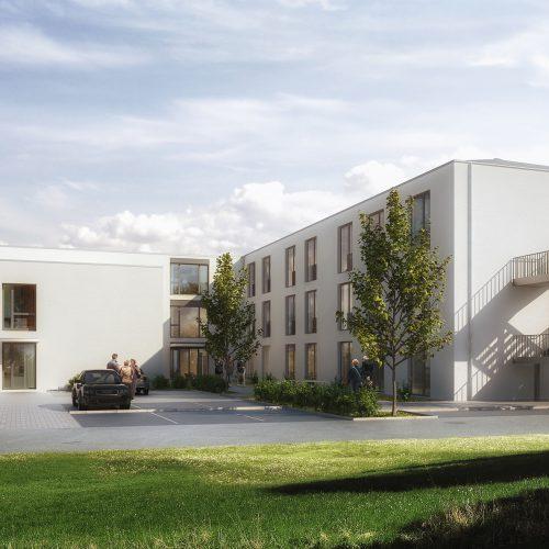 Parkplatzsituation Gau Odernheim, Außenansicht, modern und freundlich, stationäre Pflege, Pflegeimmobilien, Seniorenheime
