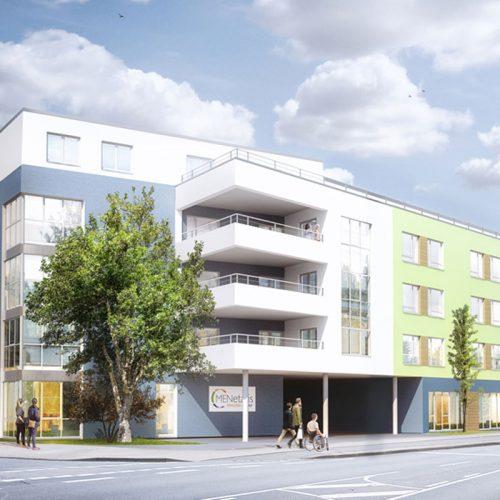 Strassenansicht Bexbach Seniorenzentrum Wohnpark Pflegeimmobilien , modern und hell