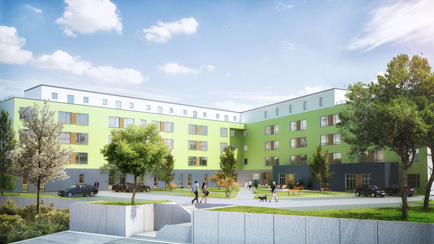 Bexbach Wohnpark Seniorenwohnpark Pflegeimmobilien Aussenansicht hell und freundlich mit Staffelgeschoß