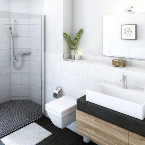 Innenansicht Badezimmer modern freundlich hell Wohnpark Bad Bergzabern 2 II Seniorenheim Pflegeimmobilie